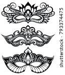 set of isolated carnival masks | Shutterstock .eps vector #793374475