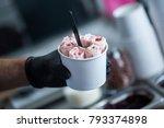 stir fried ice cream rolls at... | Shutterstock . vector #793374898