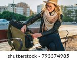 young woman tourist  a hipster... | Shutterstock . vector #793374985