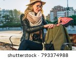 young woman tourist  a hipster... | Shutterstock . vector #793374988