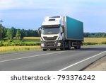 big truck moves on highway | Shutterstock . vector #793376242