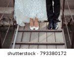 bride and groom feet standing... | Shutterstock . vector #793380172