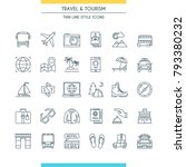 thin line design icons on theme ... | Shutterstock .eps vector #793380232