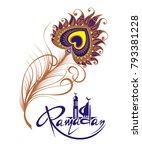 ramadan kareem card with feather | Shutterstock .eps vector #793381228