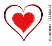 double image of the heart on... | Shutterstock . vector #793383106