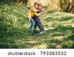two funny kids playing together ... | Shutterstock . vector #793383532