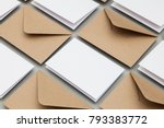 blank white card with kraft... | Shutterstock . vector #793383772