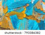 rusty on zinc metal plate... | Shutterstock . vector #793386382