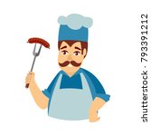 happy man in chef hat and apron ... | Shutterstock .eps vector #793391212