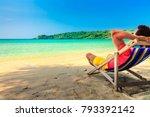 enjoying life. back side of...   Shutterstock . vector #793392142