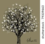 Tree Silhouette With White...