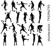 black silhouettes set of men... | Shutterstock .eps vector #793396795