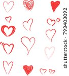 hand drawn hearts. design... | Shutterstock .eps vector #793403092