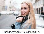 happiness highlights her beauty.... | Shutterstock . vector #793405816