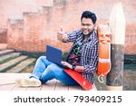 young indian man thumb up... | Shutterstock . vector #793409215
