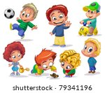characters funny kids on a... | Shutterstock .eps vector #79341196