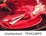 st. vsalentines day dinner.... | Shutterstock . vector #793413895