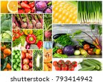 fruits and vegetables collage | Shutterstock . vector #793414942