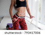 fitness athlete measures the... | Shutterstock . vector #793417006