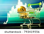 supermarket shopping cart with... | Shutterstock . vector #793419556