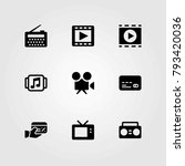 technology vector icons set. tv ... | Shutterstock .eps vector #793420036
