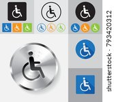 disabled icon sign set.  flat... | Shutterstock .eps vector #793420312
