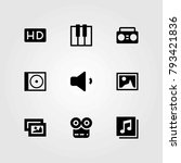 multimedia vector icons set.... | Shutterstock .eps vector #793421836