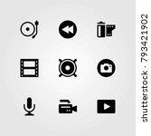 multimedia vector icons set.... | Shutterstock .eps vector #793421902