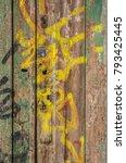 demaged old wooden door with... | Shutterstock . vector #793425445
