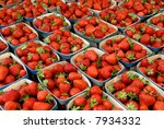 Strawberries at farmers market - stock photo