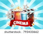 cinema poster design. vector... | Shutterstock .eps vector #793433662