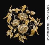 golden roses embroidery.... | Shutterstock .eps vector #793434298