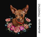 embroidery dog and flowers.... | Shutterstock .eps vector #793435762