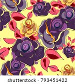 seamless floral pattern with... | Shutterstock .eps vector #793451422