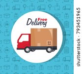 free delivery set icons | Shutterstock .eps vector #793451965