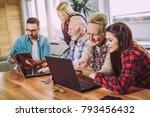 young volunteers help senior... | Shutterstock . vector #793456432