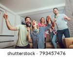 group of friends playing... | Shutterstock . vector #793457476