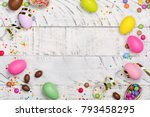 easter chocolate egg and... | Shutterstock . vector #793458295