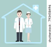 doctor and nurse and hospital...   Shutterstock .eps vector #793458496