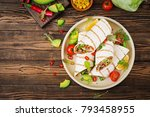 burritos wraps with beef and... | Shutterstock . vector #793458955