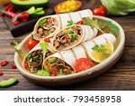 burritos wraps with beef and... | Shutterstock . vector #793458958