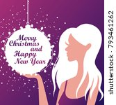 silhouette of a girl. christmas.... | Shutterstock .eps vector #793461262