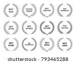film awards. set of black and... | Shutterstock .eps vector #793465288