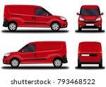 realistic cargo van. front view ... | Shutterstock .eps vector #793468522