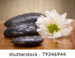 zen stones and flowers - stock photo
