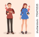 declaring love with sms. style... | Shutterstock .eps vector #793470535