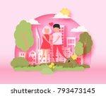 abstract paper cut illustration ... | Shutterstock .eps vector #793473145