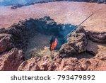 fire demo in timanfaya ... | Shutterstock . vector #793479892