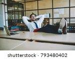 happy office male worker in... | Shutterstock . vector #793480402