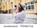 stylish female traveler...   Shutterstock . vector #793481716